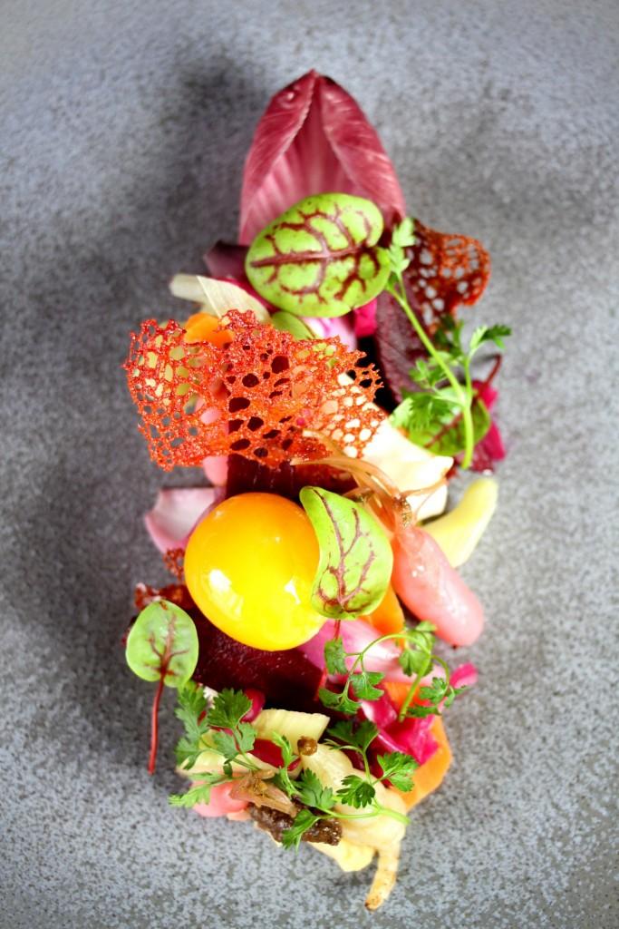 La recette du week-end: Le jardin d'hiver, légumes fermentés sur crème de cèpes